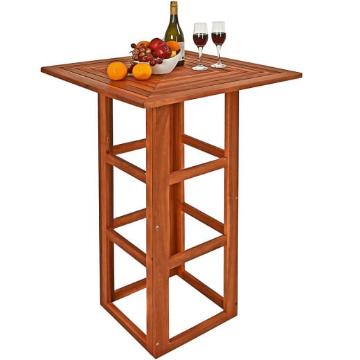 Wooden Square High Table made of Acacia Wood