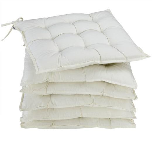 6x Garden Chair Cushion Cozy 55% Cotton Outdoor Patio Cream
