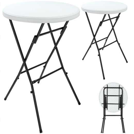 Foldable High Table in White made of Plastic