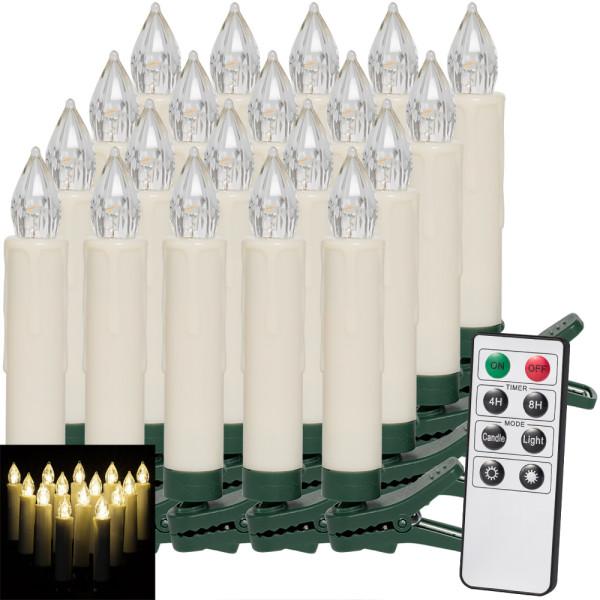 20er Set LED Weihnachtsbaumkerzen Warmweiß mit Fernbedienung