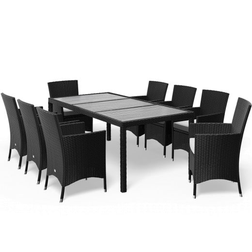 Polyrattan Garden Furniture Set Riga 17Pcs Black