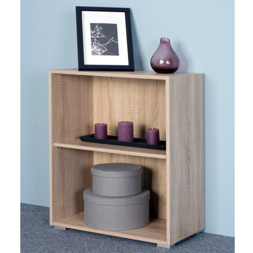 Bookcase Vela in Oak design 2.5ft with 2 Tiers