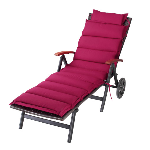 Sunlounger cushions - Red - 192,5 x 61 cm - Thick padded and strap loops