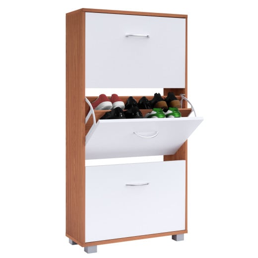 Shoe Storage Cabinet Beech/White with 3 Drawers