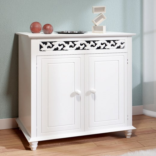 Sideboard Nostalgia in White made of Wood 2.5x2x1ft