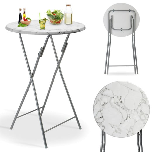 Foldable Round High Table in Marble Look White