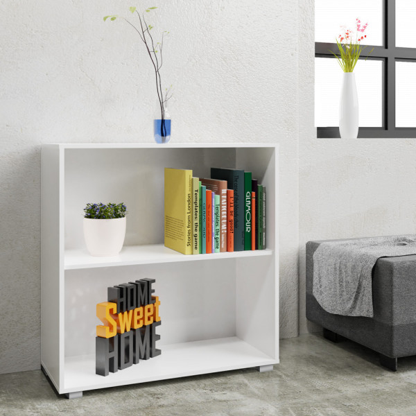 Bookcase Vela in White with 2 Tiers