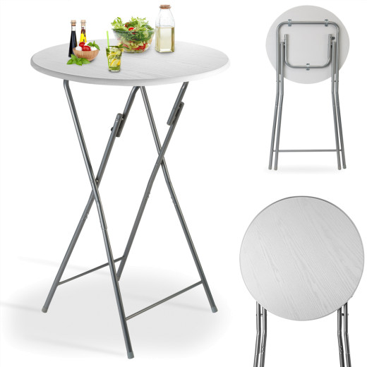 Foldable Wooden High Table in White