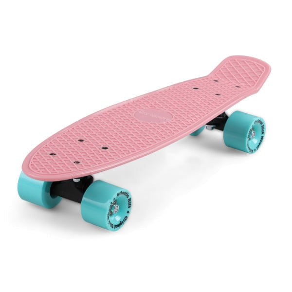 Retro Skateboard Pink-Mint with LED