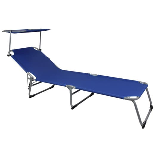 Folding Sun lounger Hawaii with adjustable sun shade in blue