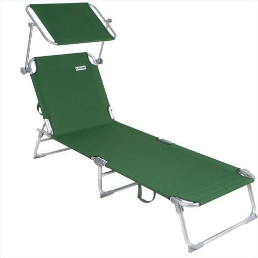 Sun Lounger Ibiza Green Aluminium with Sun Shade