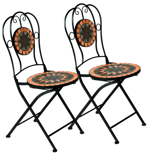 "Mosaic Bistro Chair Set of 2 ""Terracotta"""