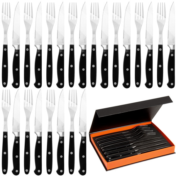 Steak Cutlery Set 24Pcs Black incl. Box