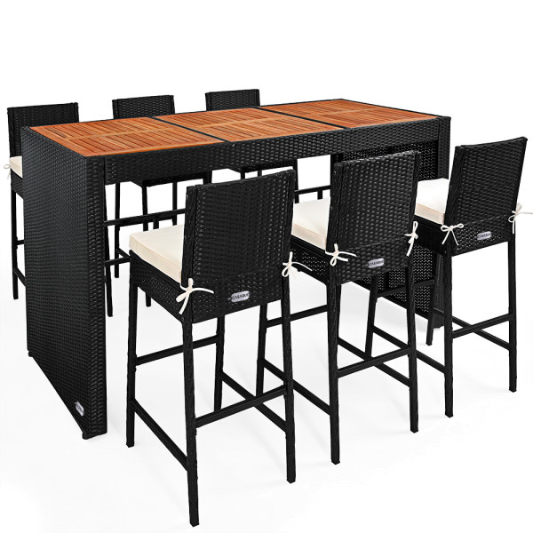 Poly Rattan Bar Set 13 Pieces - Acacia Wood Table Plate - Seat Cushions included