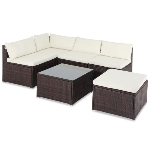 Poly Rattan Garden Furniture Lounge Set 16 Pieces - 7cm strong Cushions