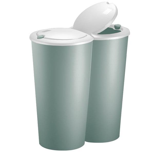 Doppelmülleimer Kunststoff Grün 2x25 Liter 50x53cm