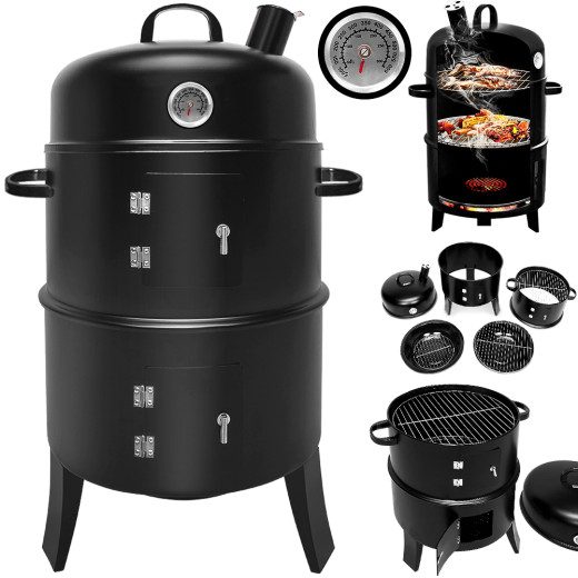 BBQ Barbecue Smoker Round - Smoking and Grilling with Thermometer