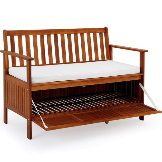 Wooden Garden Bench with Storage made of Acacia Hardwood