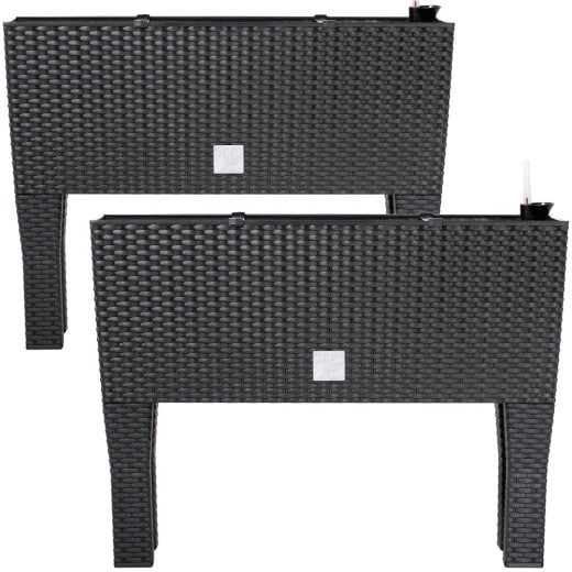 Raised Planter Anthracite 60x25x46cm Polyrattan Design