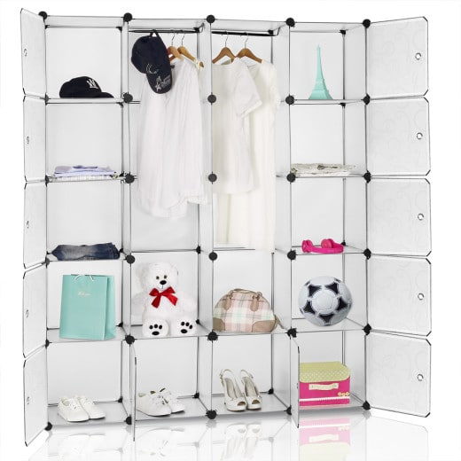 White Interlocking Rack with 12 Plastic Compartments and 2 Hanging Rails
