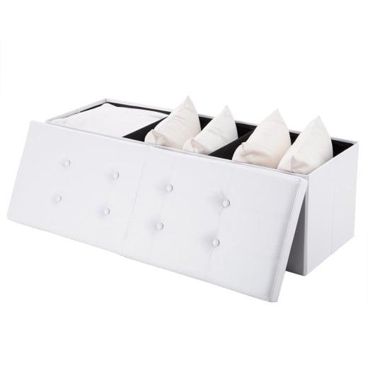 Sitzbank Weiß 114x38x38 cm mit Stauraum