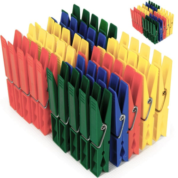 100x Clothespins made of plastic - 4 different colors