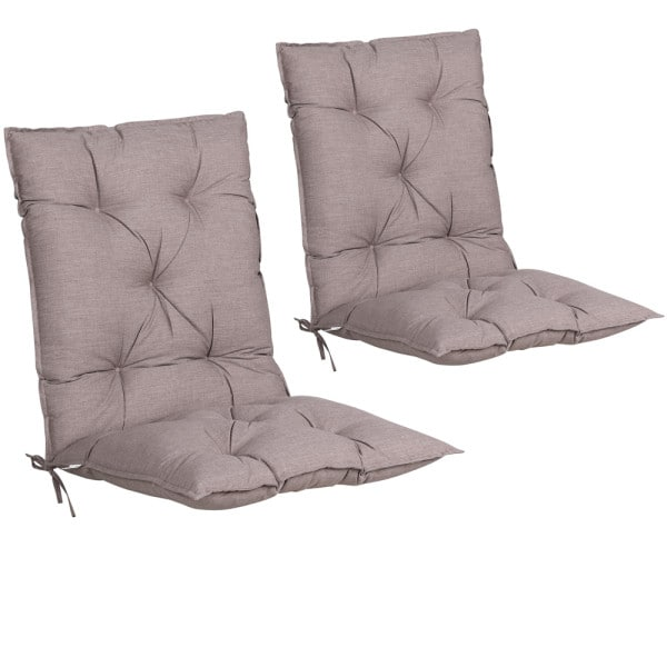 2x Garden Chair Cushion Pads with Back Indoor and Outdoor