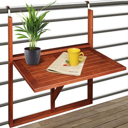 Balkonhängetisch aus Akazienholz 65x45x87cm klappbar