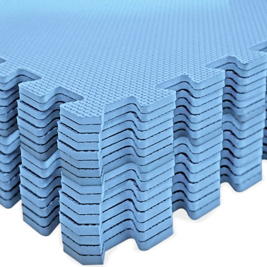 Floor Protection Mat 16 Pieces Set Blue 180 x 180 cm