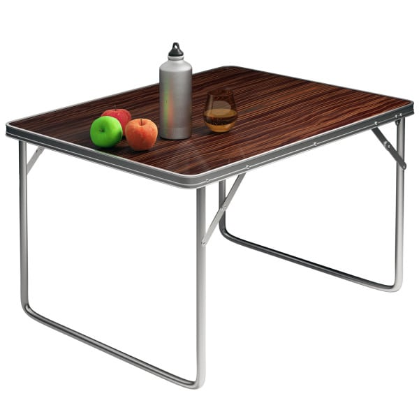 Foldable Camping Table in Wooden Look made of Aluminium