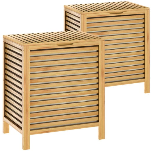 Set of 2 Bamboo Laundry Baskets with 62Lvolume
