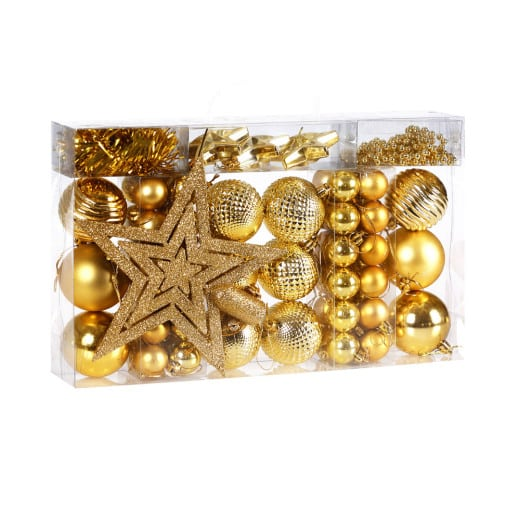 Christmas Baubles 66Pcs Gold