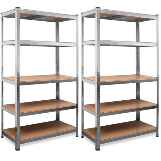 Set of 2 Heavy Duty Shelves made of galvanized metal - 5.5x2.5x1ft - max. load 350kg