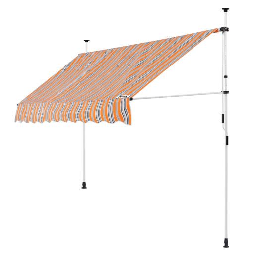 Klemmmarkise Orange/Schwarz/Weiß 250cm