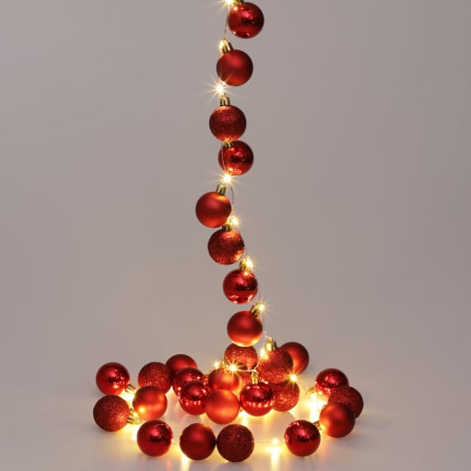 LED String Lights 2m with red Christmas Baubles