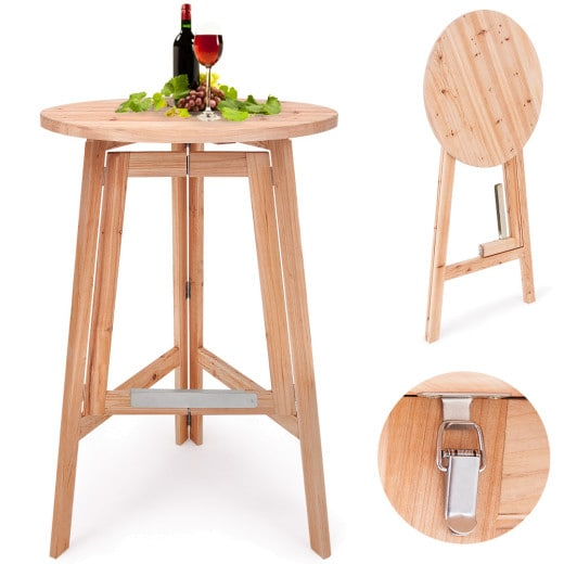 Foldable Wooden High Table made of Solid Wood