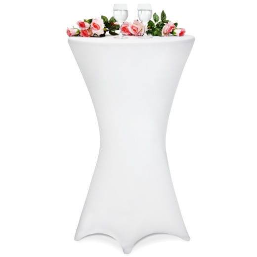 5x Fitted High Table Slip Cover White à~60 cm - Cloth Set SPANDEX - Wedding Anniversary Party Banquet
