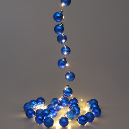 LED String Lights 2m with blue Christmas Baubles