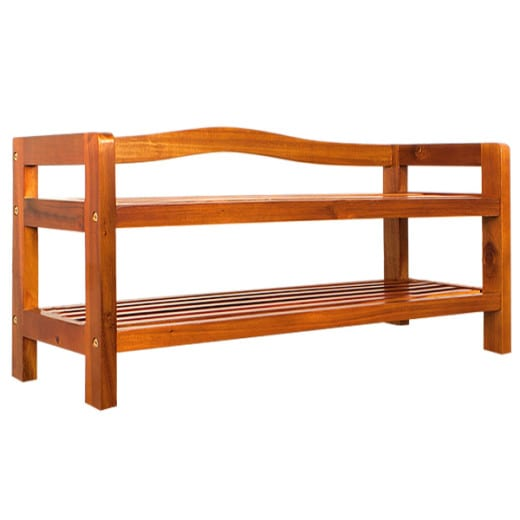 Wooden Shoe Rack Acacia Wood with 2 compartments