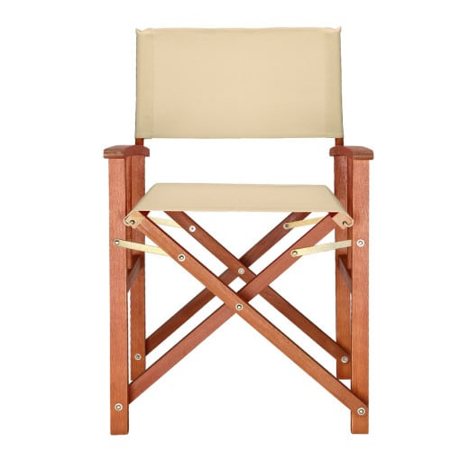 Wooden Director's Chair in Cream / Beige made from Eucalyptus Wood