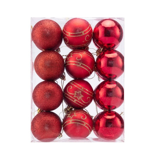Christmas Baubles 24Pcs Red