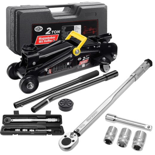 Car Jack Trolley 2t and 6 Pieces Torque Wrench