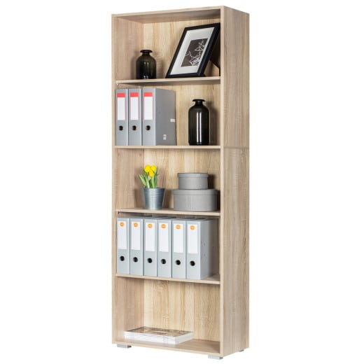 Bookcase Vela Oak 6ft with 5 Tiers