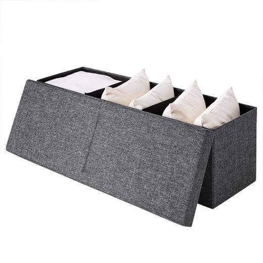 Faltbare Sitztruhe mit klappbarem Deckel in dunkelgrau
