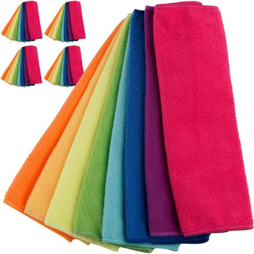 40x Microfibre Cloth - 8 Different Colours - 30x30cm