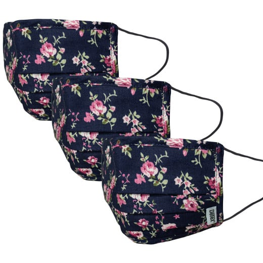 Face Covering Blue/Flowers Cotton - Set of 3