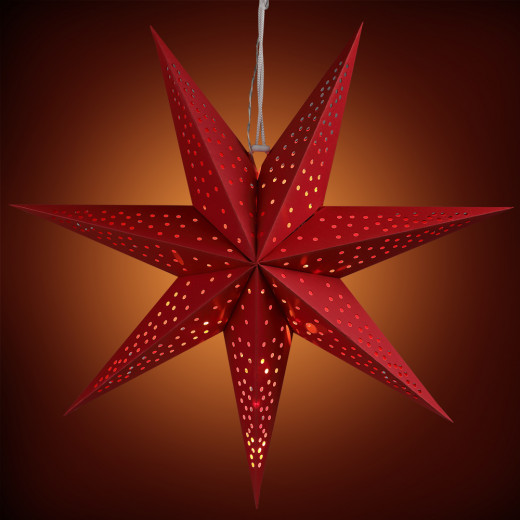 LED Paper Star Red 2ft 7 Arms Dots