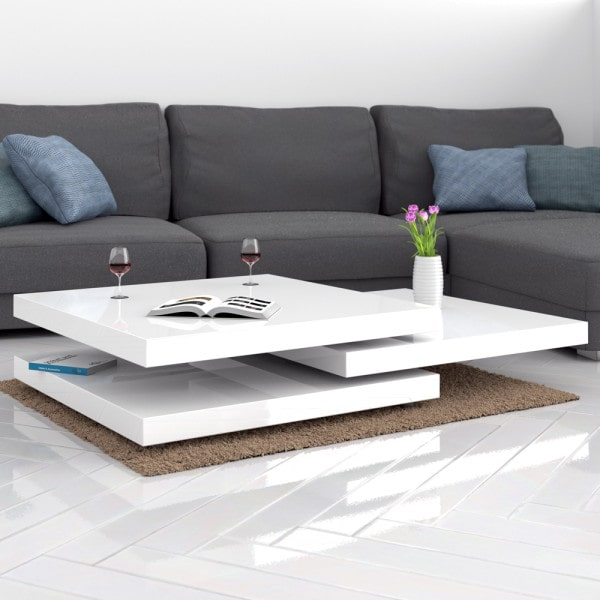 Coffee Table New York 2.5x2.5ft White - rotatable
