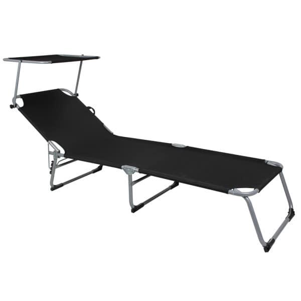 Folding Sun lounger Hawaii with adjustable sun shade in anthrazit