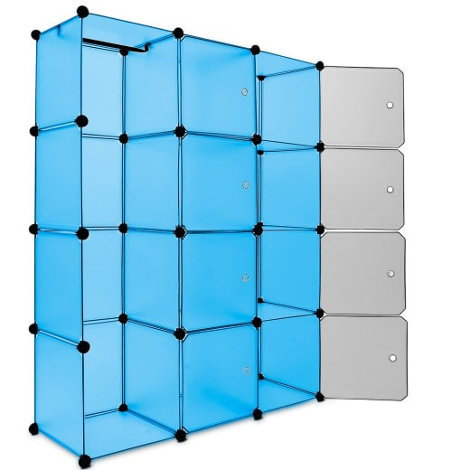 Blue Interlocking Rack with 12 Plastic Boxes